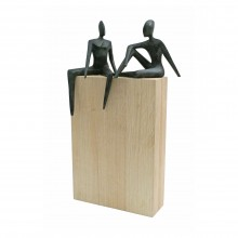 Bronze Figural Sculptures on White Oak Plinth