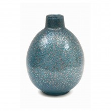 Blue Art Glass Vase with Imbedded Gold Bubbles