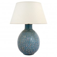 Blue Art Glass Table Lamp with Imbedded Gold Bubbles