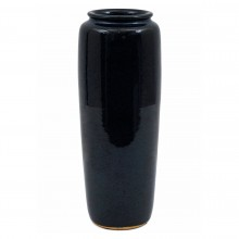 Tall Navy Blue Stoneware Vase