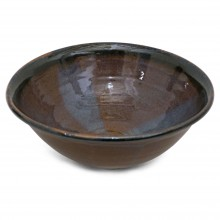 Large Brown and Purple Stoneware Bowl