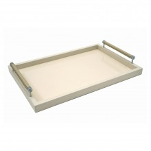 Ivory Lacquered Tray with Chrome and Woven Leather Handles