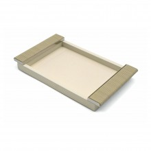 Ivory Lacquered Tray with Chrome and Leather Handles
