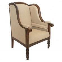 French Walnut Framed Upholstered Wing Chair