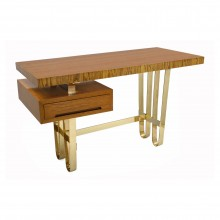 Italian Wood Desk with Looped Brass Base