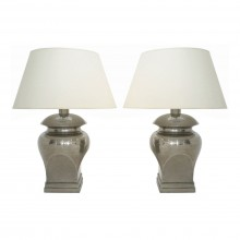 Pair of Urn Shaped Metal Table Lamps