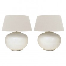 Pair White Ceramic Table Lamps