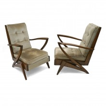 Pair of Upholstered French Chairs with Angled Arms