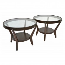 Pair of Round Oak Side Tables by Halabala