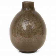 Taupe Art Glass Vase with Imbedded Gold Bubbles