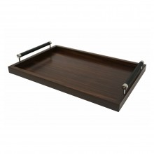 Macassar Ebony Tray with Chrome and Woven Black Leather Handles