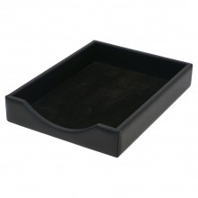 Italian Black Leather Letter Tray