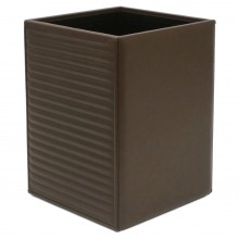 Horizontal Quilted Brown Leather Waste Paper Basket