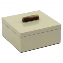 Cream Lacquer Box with Horn and Stainless Handle