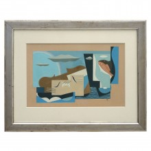 French Cubist Gouache Painting