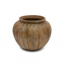 Large Round Ribbed Terra Cotta Jardinere