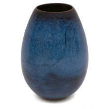 Drip Glazed Blue Stoneware Vase