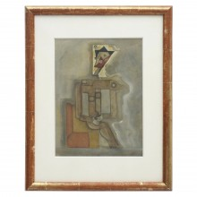 Constructionist cubist figural painting in antique frame