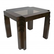 French Oak Games Table with Stepped Art Deco Legs