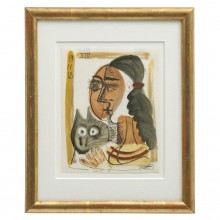 Abstract Watercolor Painting of Woman with Cat by Raymond Debieve
