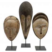 Carved and Painted Wooden African Masks, Mounted