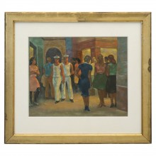 French Painting of Crowd at Cinema, Oil on Board