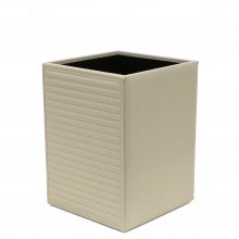Horizontal Quilted Ivory Leather Waste Paper Basket