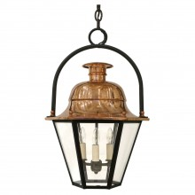 Hexagonal Copper Lantern with Iron Ring Top