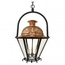Hexagonal Copper Lantern with Iron Ring Hanger