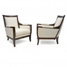 Pair of Large French Mahogany Upholstered Armchairs