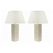 Pair of Carved White Plaster Table Lamps