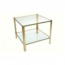 Square Brass and Glass Two-Tiered Table