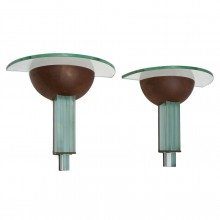 Pair of Copper and Glass Fontana Arte Wall Sconces