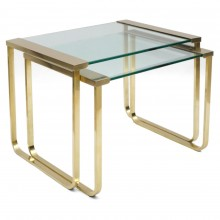 Brass and Glass Nesting Tables by Serge Mazza