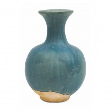 Blue/Green Drip Glazed Terra Cotta Vase
