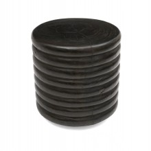 Ribbed Teak Wood Stool or Small Table