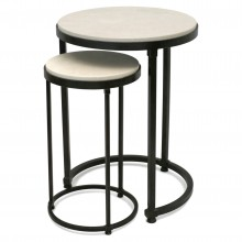 Circular Iron Table with Nesting Drinks Table