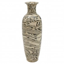 Tall Thin Marbleized Stoneware Vase