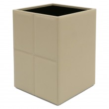 Stitched Ivory Leather Wastepaper Basket