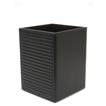 Horizontal Quilted Black Leather Waste Paper Basket