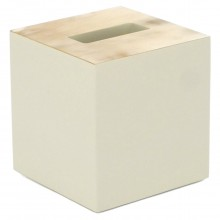 Ivory Lacquer and Horn Tissue Box Cover