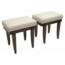 Pair of Art Deco Style Mahogany Benches with Tapering Legs