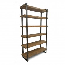 Steel and Wood Six Shelf Bookcase