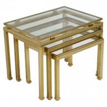 Brass and Glass Nesting Tables by Guy LeFevre