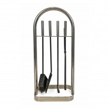 Set of French Polished Steel Fireplace Tools