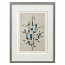Abstract Hand Colored Lithograph