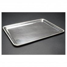 French Silver Plate Tray with Gadrooned Edge