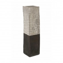 Tall Square Raku Vase with White Crackle Top