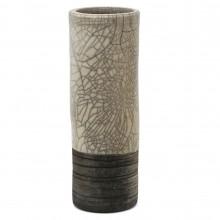 Cylindrical Raku Fired Crackle Glazed Vase