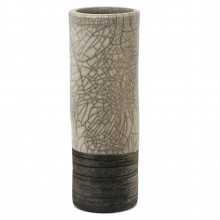 Cylindrical Raku Fired Crackle Glazed Vase